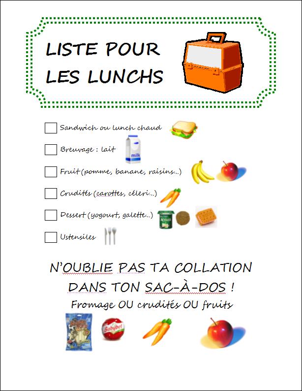 Liste pour les lunchs - Hungry Rachel