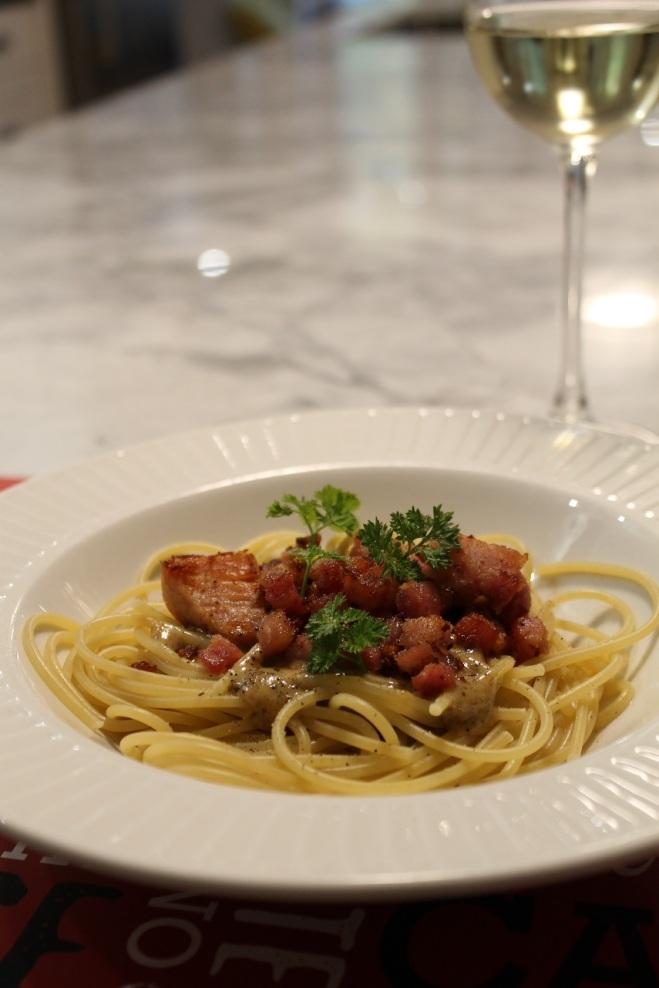 Assiette pâtes à la pancetta Fantino et Mondello et restes de jambon - Hungry Rachel